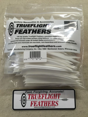 Trueflight 5 inch Feathers Right Wing Parabolic Cut 100 pack Blue