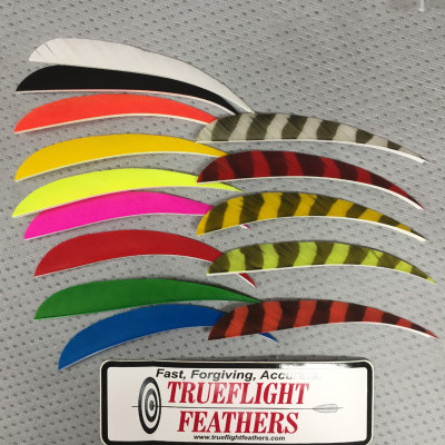 Trueflight 5 inch Feathers Right Wing Shield Cut 100 pack Traditional Barred